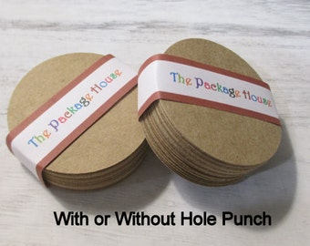 "50 Kraft 2"" Round Paper Tags (with or without hole punch)"