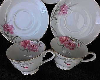 Vintage Pink Carnation Tea Cups & Saucers
