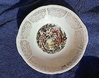 Vintage Crooksville China Co. Colonial Couple Dancing to Flute Bowls