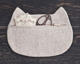 Linen Makeup Bag, Cat cosmetics, White Pencil Case, Toiletries Bag, Makeup Organizers Girlfriend Gift Mother Day Gift