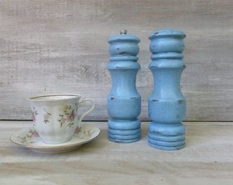 Pair of Ocean Blue Painted Wooden Salt Shaker and Pepper Grinder