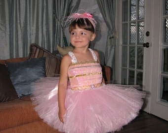Sample size 3T-4T Ready to ship Ballerina dress with headpiece as shown, pagent dress, party dress,ballerina costume,  birthday dress