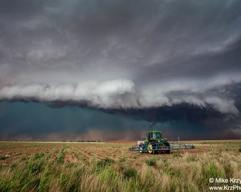 Supercell Thunderstorm Above a Tractor in Morton, Texas