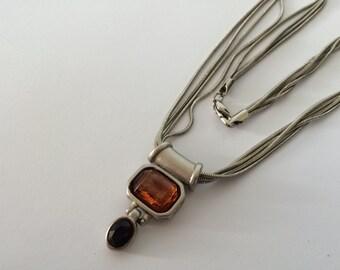 Vintage Multi Chain Slide Pendant Necklace