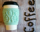 Cabled Coffee Cup Sleeve- Mint Green - Ready to Ship - Fall Accessories - Stocking stuffer - Gift idea - Christmas Gift -