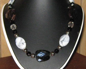 CLEARANCE SALE - Black and White, Fun,Big, Bold, Acrylic Necklace