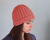 Crochet Wool Ribbed Beanie in Pink