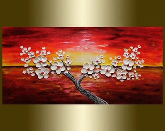 Oil painting Contemporary white flower Blooming Tree Heavy Palette Knife