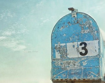 Rustic Photography, Blue Wall Art, Country Mailbox Photo, Farmhouse, Entryway, Foyer, Mudroom Decor | 'Number Three'