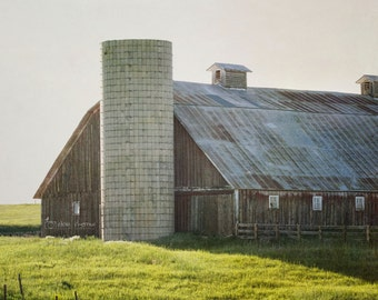 Barn Photography, Rustic Country Wall Art, Farmhouse Living Room Decor, Old Farm Silo Picture | 'Late Afternoon'