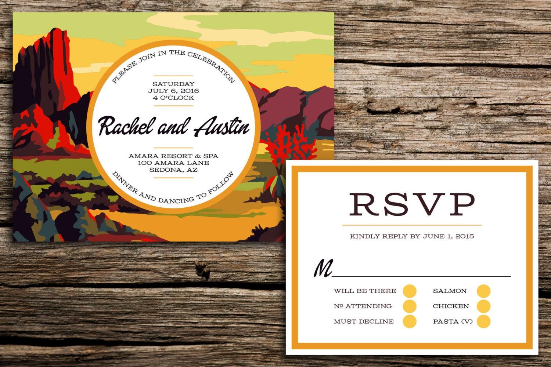 Wedding Invitations Az: Desert Paint By Number Wedding Invitation // Arizona Wedding