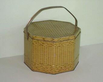Vintage Metal Faux Basket Weave Wicker 8-Sided Biscuit Tin
