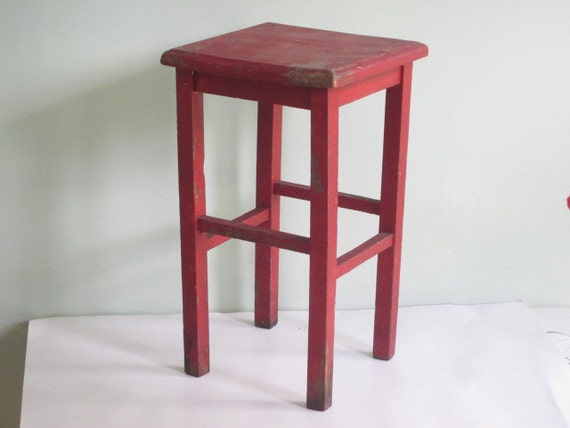 Small Vintage Rustic Red Wood Stand Stool Side Table