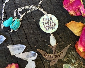 Beatles inspired Handstamped Bird necklace - Take these broken wings & learn to fly - Turquoise and Quartz with Brass and Silver