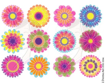 Flower Floral Clipart Spring Summer Clip Art Digital Flowers Png Files Scrapbook Craft Supplies DIY Label Tags 10674