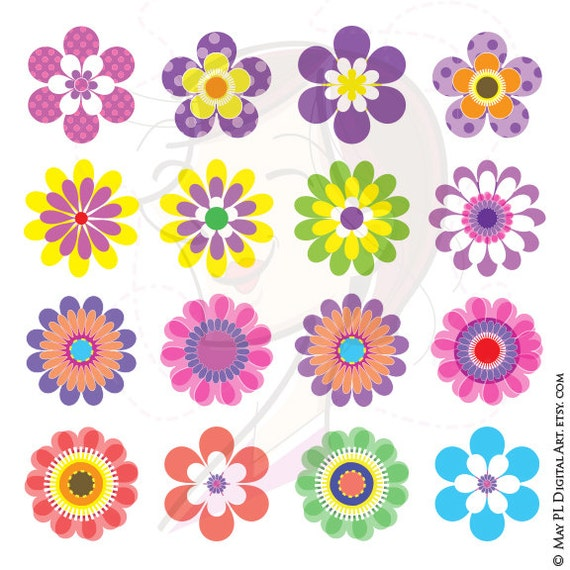 Spring Summer Flowers COMMERCIAL USE Mothers Day Digital Clipart Floral Scrapbook Embellishment Craft Supply Pink Blue Purple Yellow 10076