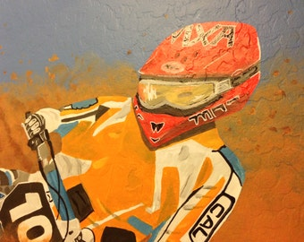 Dirt Bike Mural, Canvas Mural, Dirtbike Painting, Racing Party Decor, Dirtbike Room Decor,  Boy Room Decor, Dirtbike Mural, Boy Mural