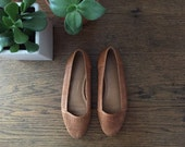 Vintage Woven Leather Flats + Size 6 + Light Brown Loafers