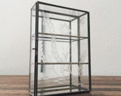 Vintage Glass + Metal Display Case + Hanging Glass Case + Trinket Case + 1970's