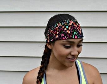 Colorful Stretch headband, workout head wrap