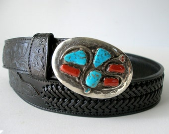 Zuni Sterling Buckle Effie C Two Snakes Turquoise Coral Stones 70g  3x2 in on Black Tooled Leather Belt sz 32 NM Calavaza Native Jewelry
