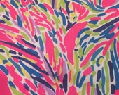 Multi Pink Palm Reader Cotton dobby fabric 9 X 18 or 18 X 18 inches  ~Lilly Pulitzer~