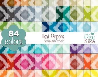 Ikat Digital Papers - Rainbow Ikat Papers - Etnic Scrapbook Papers - Huge Paper Pack- INSTANT Download