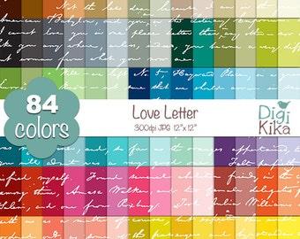 SALE Love Letter Digital Papers - Rainbow Letter Papers - Love Letter Scrapbook Papers - Huge Paper Pack- INSTANT Download