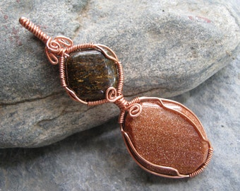 Goldstone and Bronzite Pendant, Copper Wire Wrapped Pendant, Gold & Brown Gemstone, Sacral Root Chakra Pendant, READY To SHIP