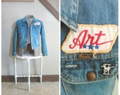 "What Lies Ahead 1960s Men's Wrangler Distressed Denim Jacket with ""Art"" Name Patch/Mustang II Patch"