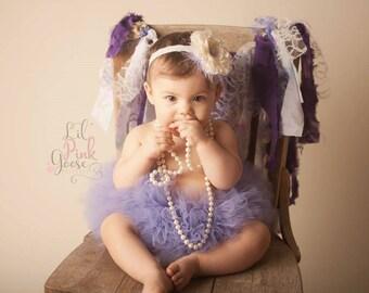 VIOLET TUTU with Lace Flower Headband, Smash Cake Tutu Set, Newborn Tutu, Baby Tutu, Infant Tutu, Newborn Photo Prop, Birthday Tutu, Tutu