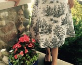 Elegant French Toile Handmade Floral Garden Party Cocktail Southern Belle Tea Modest Skirt, Black and White, Size Small