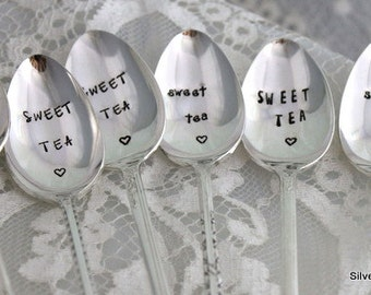 One Iced Tea Spoon Hand Stamped - SWEET TEA - Silverware Beverage Spoon - Made to Order - Made in USA