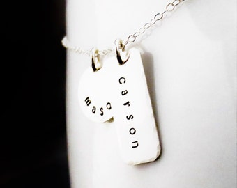 Personalized Silver Names Necklace, Hand Stamped Bar and Disc, Mommy Jewelry, Mother's Necklace, Handmade Kids Names Necklace