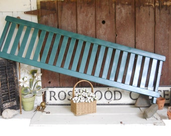 Vintage Rustic Wood Primitive Green Garden Picket Fence Country Shabby Chic Cottage Painted Landscaping Farmhouse Architectural Salvage