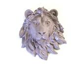 LITE PURPLE GREY Small Faux Taxidermy Lion Head in light purple gray wall mount wall hanging home //nursery // kids room // office decor //