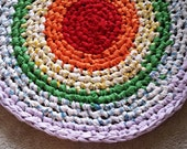 Crochet Rag Rug Rainbow Colors One Round Artisan Cottage Chic Pride Eco Friendly Art Hand Made Kitchen Bath Nursery Dorm Pet Dog Cat