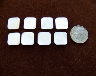 Set of 8 Vintage Small Square Pearl Buttons