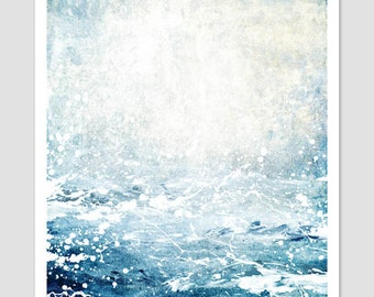 Ocean Print, Ocean Art, Ocean Waves, Abstract Ocean Art, Abstract Ocean Painting, Paint Splatter, Mixed Media Art, Art Print Abstract, UK