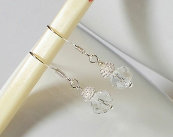 Clear Faceted Crystal Rondell With Bright Silver Coil Spring Bead Wedding Party Dangle Earring