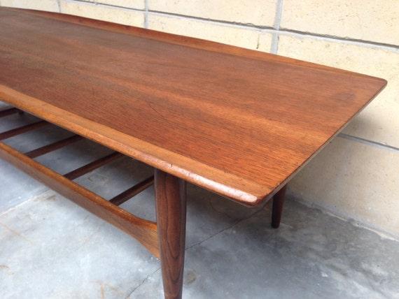 Mid century surfboard coffee table in walnut by Bassett - Century Surfboard Coffee Table In Walnut By Bassett