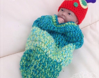 The Very  Hungry Caterpillar baby hat and cocoon, 6-12 months photo prop, baby shower gift.