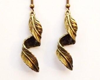 Bronze twisted 3D dangle leaf earrings