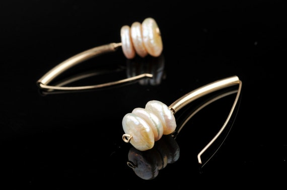 Pearl Earrings, Long Dangle, Gold Filled Tube,  3 Swinging  White Pearls, Lentil Shaped, Bridal, Wedding
