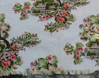 Vintage Cotton Tablecloth -- Pink Japanese Print, 36 by 35 inches