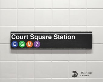Court Square Station - New York City Subway Sign - Wood Sign