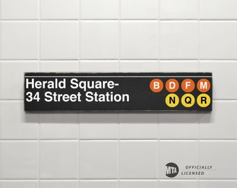 Herald Square- 34 Street Station - New York City Subway Sign - Wood Sign