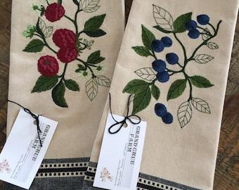 Botanical Fruit Embroidered Decorative Towels
