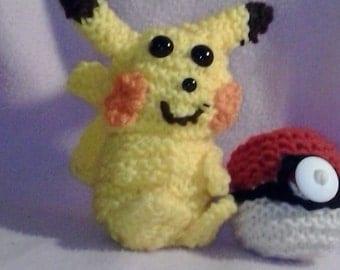 Knit Pikachu Pokemon Stuffed Animal