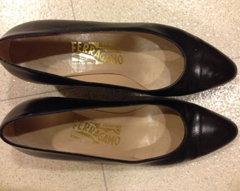 Black Vintage Ferragamo shoes.